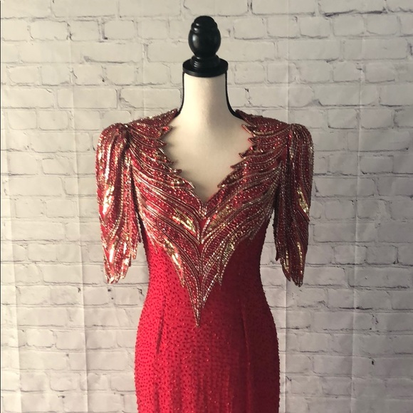 Lillie Rubin Dresses & Skirts - Red and Gold Beaded Evening Gown